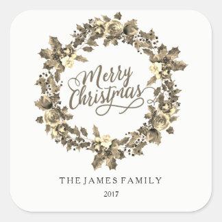 Adesivo Quadrado Festa de Natal 2017 da família da grinalda do ouro