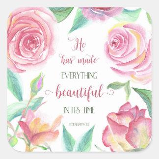 Adesivo Quadrado Fez a tudo o 3:11 bonito de Ecclesiastes