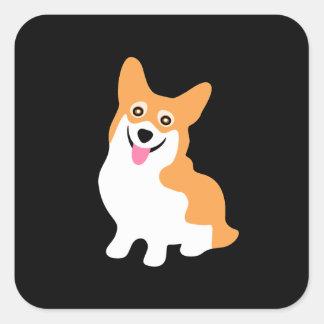 Adesivo Quadrado Filhote de cachorro de sorriso pequeno bonito do