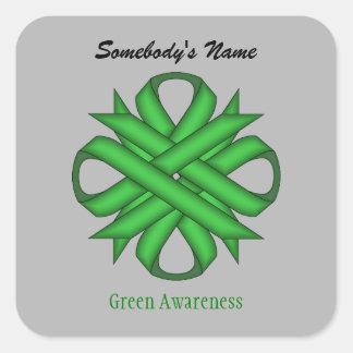 Adesivo Quadrado Fita verde do trevo por Kenneth Yoncich