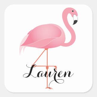 Adesivo Quadrado Flamingo cor-de-rosa