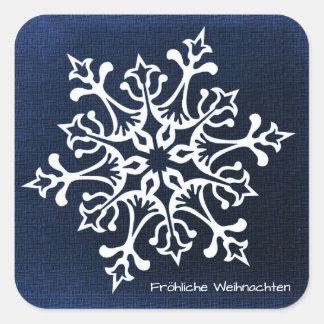 Adesivo Quadrado Floco de neve branco em Fröhliche azul Weihnachten