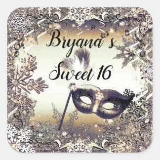 Adesivo Quadrado Flocos de neve do mascarada & do inverno do bronze