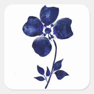 Adesivo Quadrado Flor azul