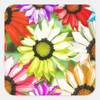 Adesivo Quadrado Flor colorida do Gerbera floral