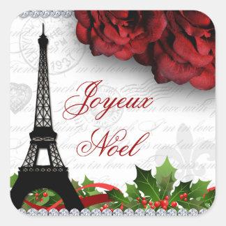 Adesivo Quadrado Flor cor-de-rosa da zebra da torre Eiffel de Paris