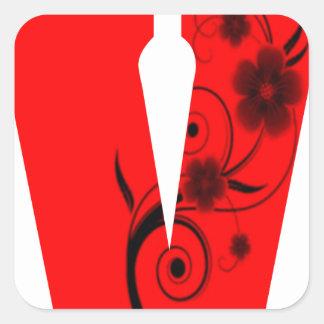 Adesivo Quadrado Flor da letra V