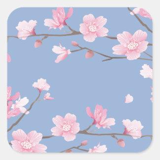 Adesivo Quadrado Flor de cerejeira - azul da serenidade