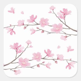 Adesivo Quadrado Flor de cerejeira - Transparente-Fundo