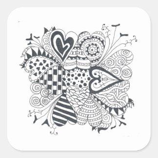 Adesivo Quadrado Flor dos corações