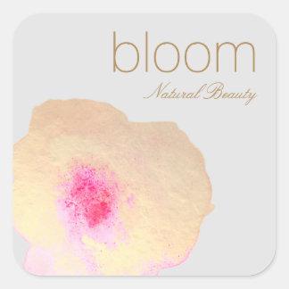 Adesivo Quadrado Flor floral da aguarela do ouro elegante