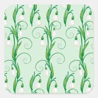 Adesivo Quadrado Flores brancas de Snowdrop