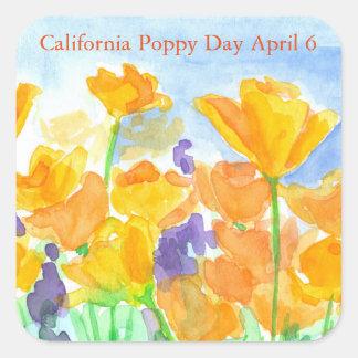 Adesivo Quadrado Flores da aguarela do dia da papoila de Califórnia