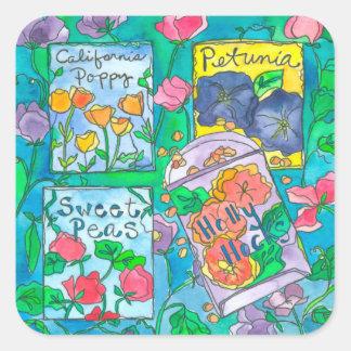 Adesivo Quadrado Flores da aguarela dos Hollyhocks