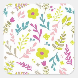 Adesivo Quadrado Flores de Colorfull no branco