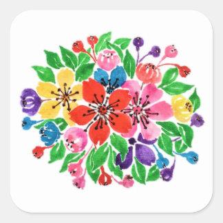 Adesivo Quadrado Flores do arco-íris da aguarela