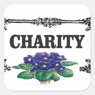 Adesivo Quadrado flores do azul da caridade