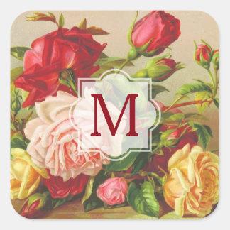 Adesivo Quadrado Flores do buquê dos rosas do Victorian do vintage