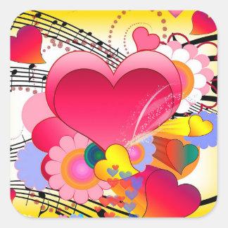 Adesivo Quadrado Flores dos corações e notas da música
