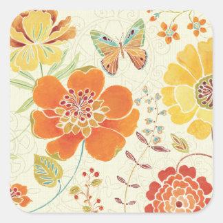 Adesivo Quadrado Flores e borboletas coloridas
