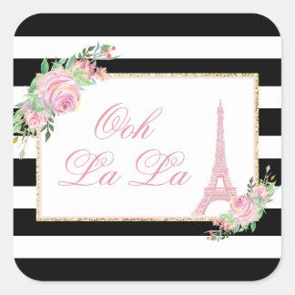 Adesivo Quadrado Flores & festa de aniversário da torre Eiffel
