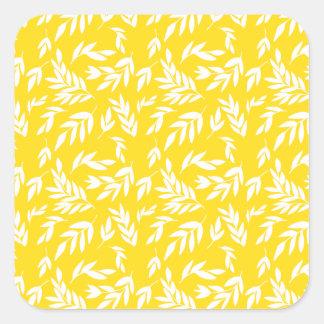 Adesivo Quadrado Flores no amarelo do mel