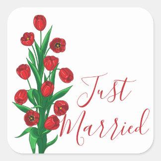 Adesivo Quadrado Flores para casamentos vermelhas florais das