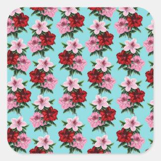 Adesivo Quadrado flores rosas vermelha na luz da cerceta