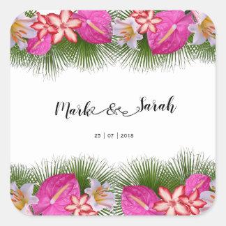 Adesivo Quadrado Flores tropicais e caligrafia das folhas de