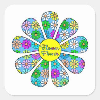 Adesivo Quadrado Flower power feliz