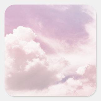 Adesivo Quadrado Flutuação em nuvens roxas macias