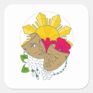 Adesivo Quadrado Fluxo filipino de Sampaguita do hibiscus de Sun da