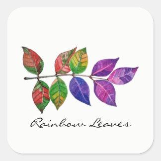 Adesivo Quadrado Folhas do arco-íris da aguarela