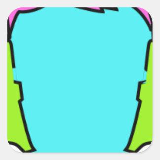 Adesivo Quadrado Fones de ouvido vestindo-se coloridos