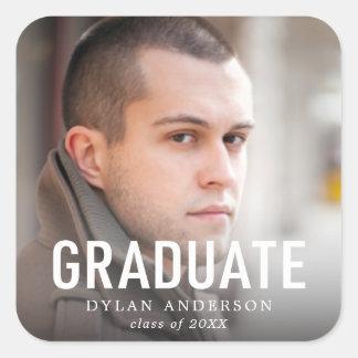 Adesivo Quadrado Formando corajoso simples da foto da graduação