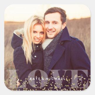 Adesivo Quadrado Foto do amor e dos Sparkles