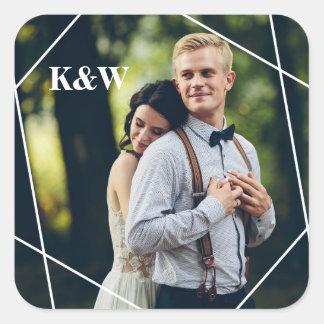 Adesivo Quadrado Foto na moda do casamento do monograma