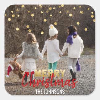 Adesivo Quadrado FOTO VERMELHA do Feliz Natal | dos confetes do