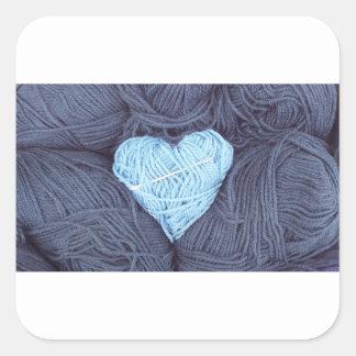 Adesivo Quadrado Fotografia bonita do coração azul de lãs