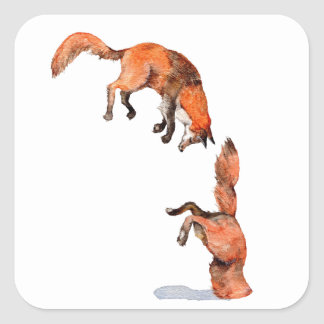 Adesivo Quadrado Fox vermelho de salto