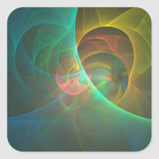 Adesivo Quadrado Fractal abstrato colorido