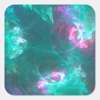Adesivo Quadrado Fractal abstrato em uma paleta fria