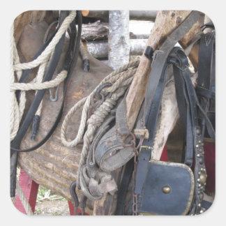 Adesivo Quadrado Freios e bocados de couro gastos do cavalo