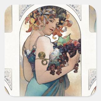 Adesivo Quadrado Fruta por Alfons Mucha 1897