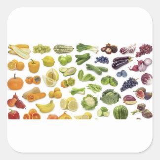 Adesivo Quadrado Frutas e vegetarianos!