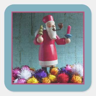 Adesivo Quadrado Fumador alemão idoso do incenso, Papai Noel 2,2