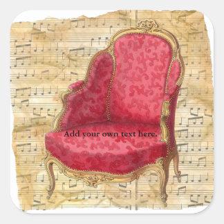 Adesivo Quadrado Fundo 1 da contagem musical de cadeira de sala de