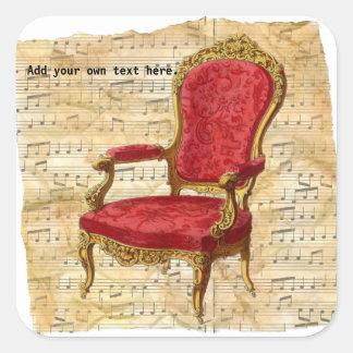 Adesivo Quadrado Fundo 2 da contagem musical de cadeira de sala de
