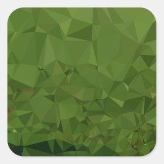 Adesivo Quadrado Fundo do polígono do abstrato do verde da