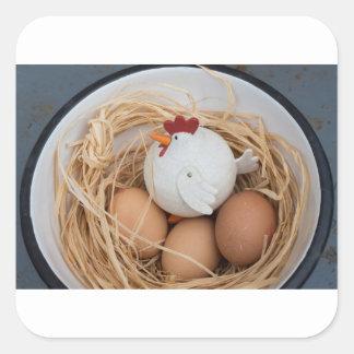 Adesivo Quadrado Galinha & ovos